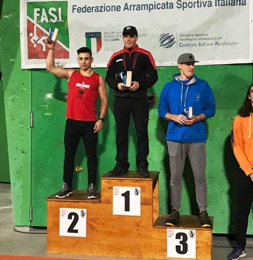 Il podio maschile di Campitello di Fassa